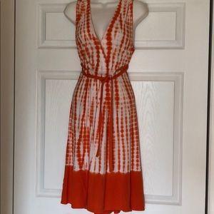 Michael Kors Orange Cotton Tie Dye Belted Dress M